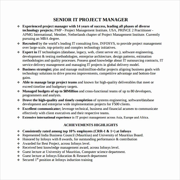 Project Manager Resume Pdf Elegant Free 7 Project Manager Resumes In Samples Examples Templates