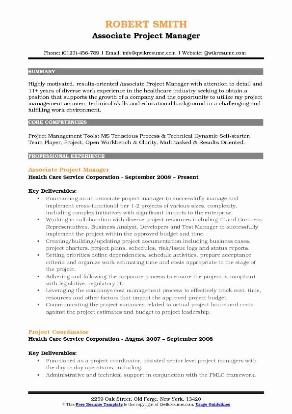 Project Manager Resume Pdf Fresh associate Project Manager Resume Samples