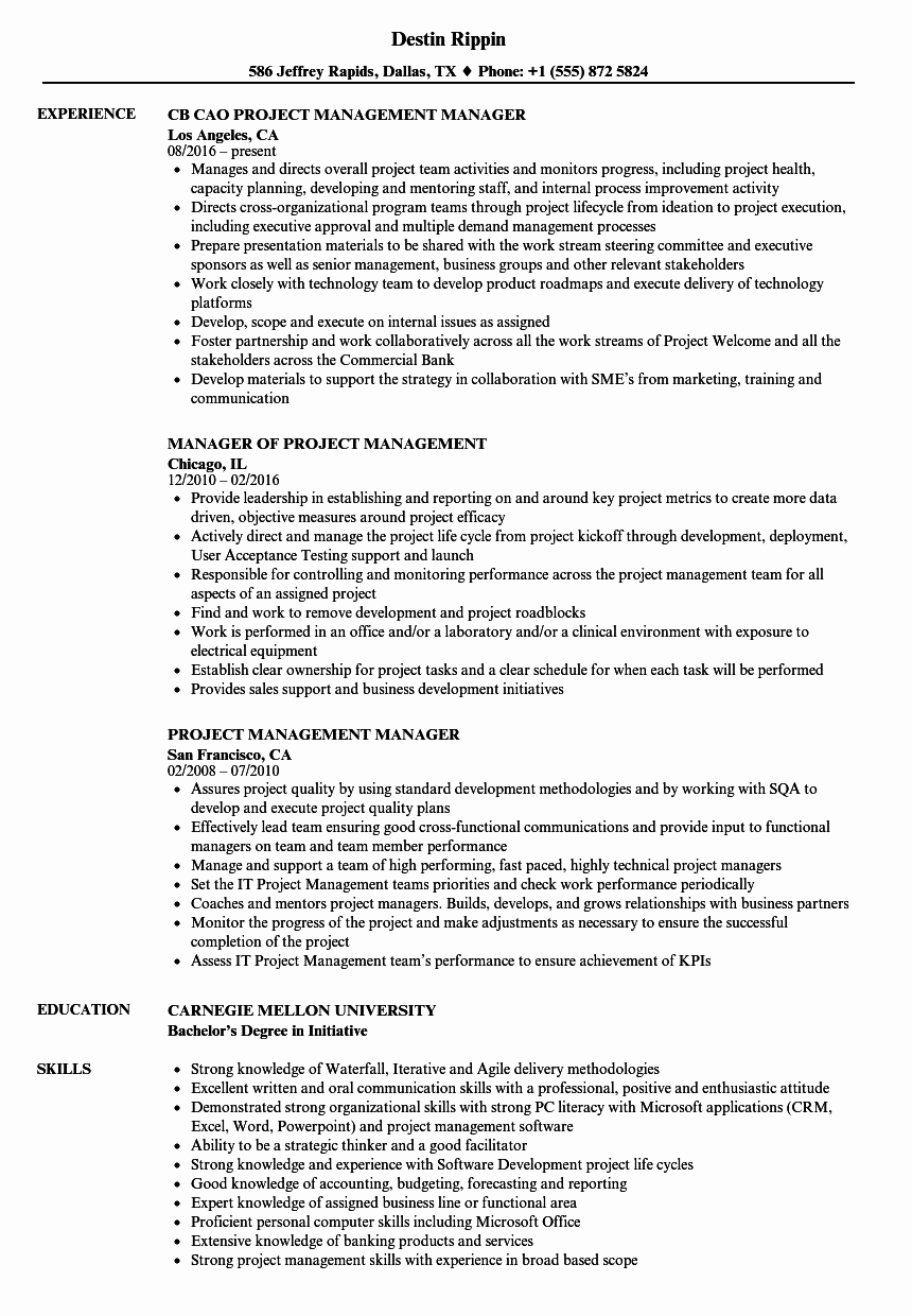 Project Manager Resume Pdf Fresh Project Management Manager Resume Samples