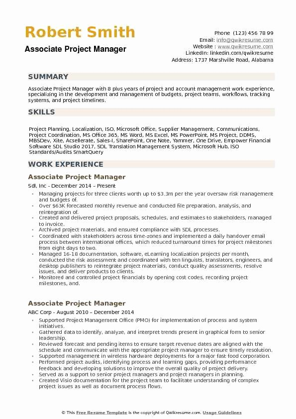 Project Manager Resume Pdf Lovely associate Project Manager Resume Samples