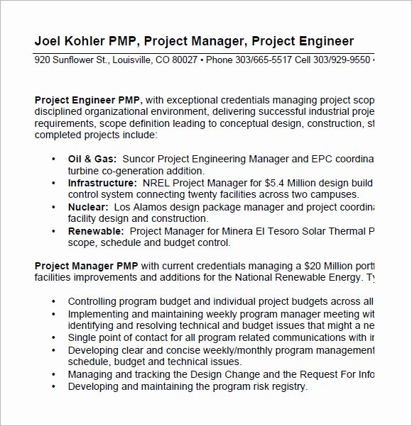 Project Manager Resume Pdf Luxury Project Manager Resume – 9 Samples Examples format