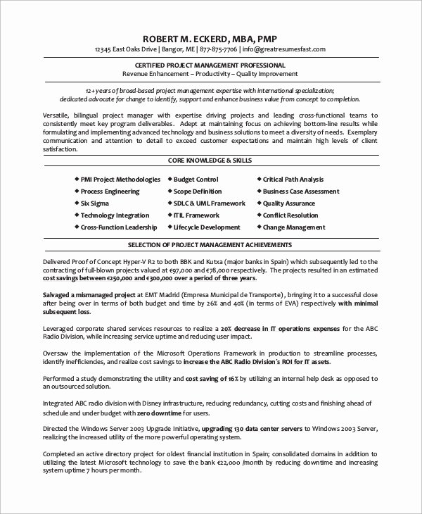 Project Manager Resume Pdf New 8 Sample Project Manager Resumes Pdf Word