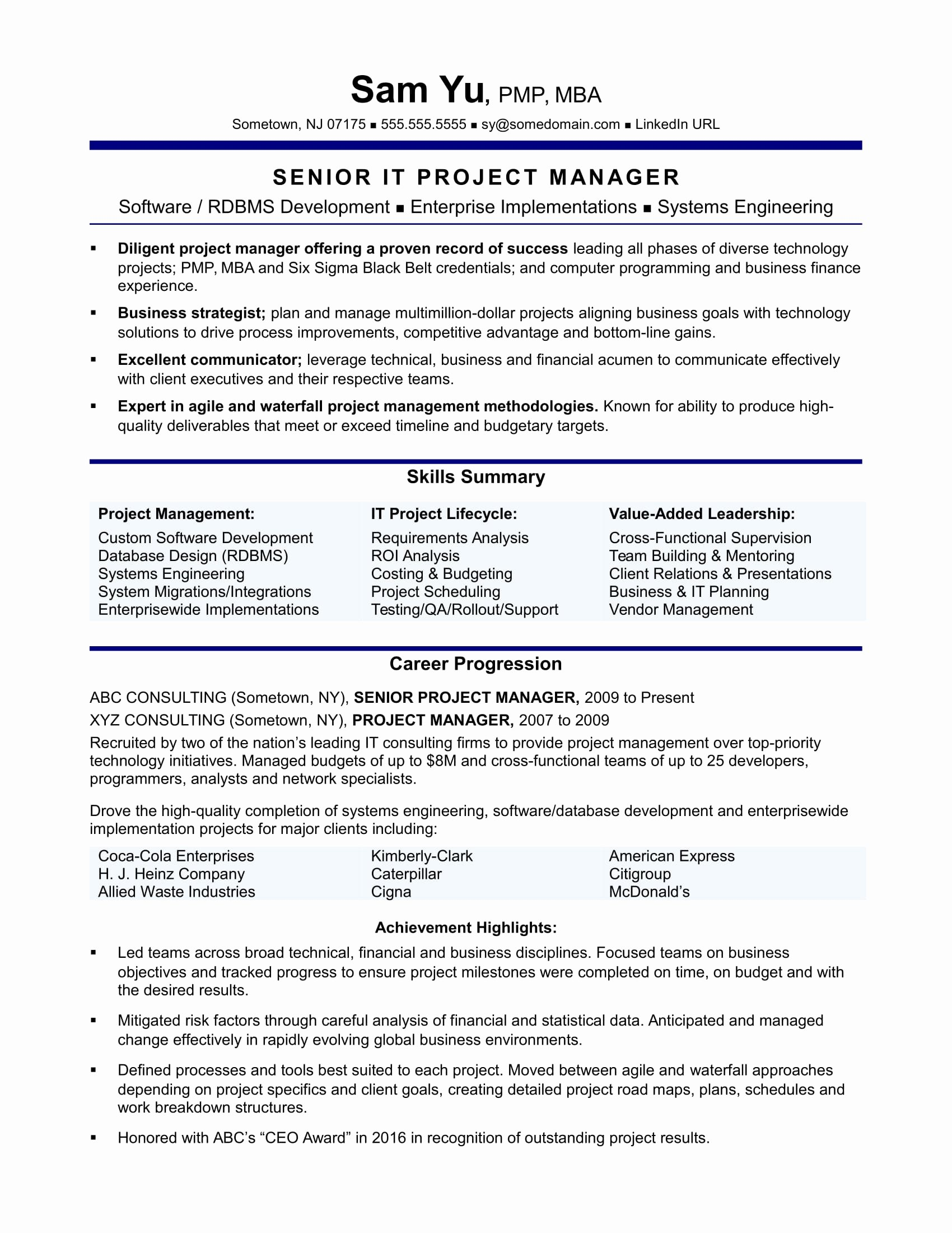 Project Manager Resume Pdf Unique Experienced It Project Manager Resume Sample
