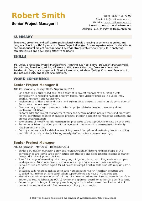 Project Manager Resume Pdf Unique Senior Project Manager Resume Samples
