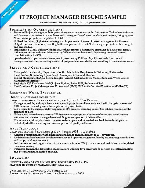 Project Manager Resume Sample Doc Beautiful Project Manager Resume Sample & Writing Tips