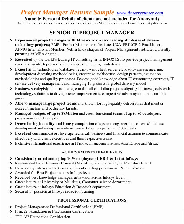 Project Manager Resume Sample Doc Best Of Project Management Resume Example 10 Free Word Pdf Documents Download
