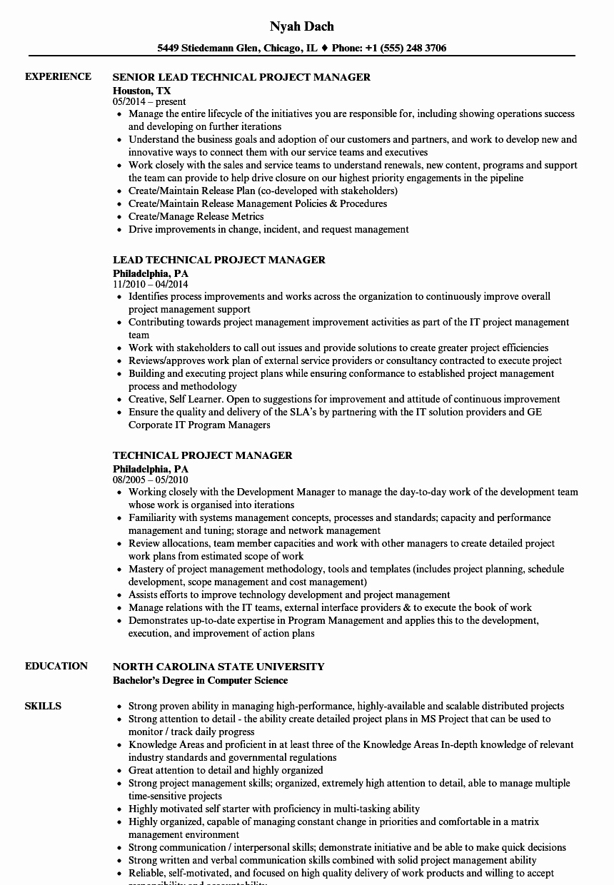 Project Manager Resume Sample Doc Fresh Technical Project Manager Resume Samples