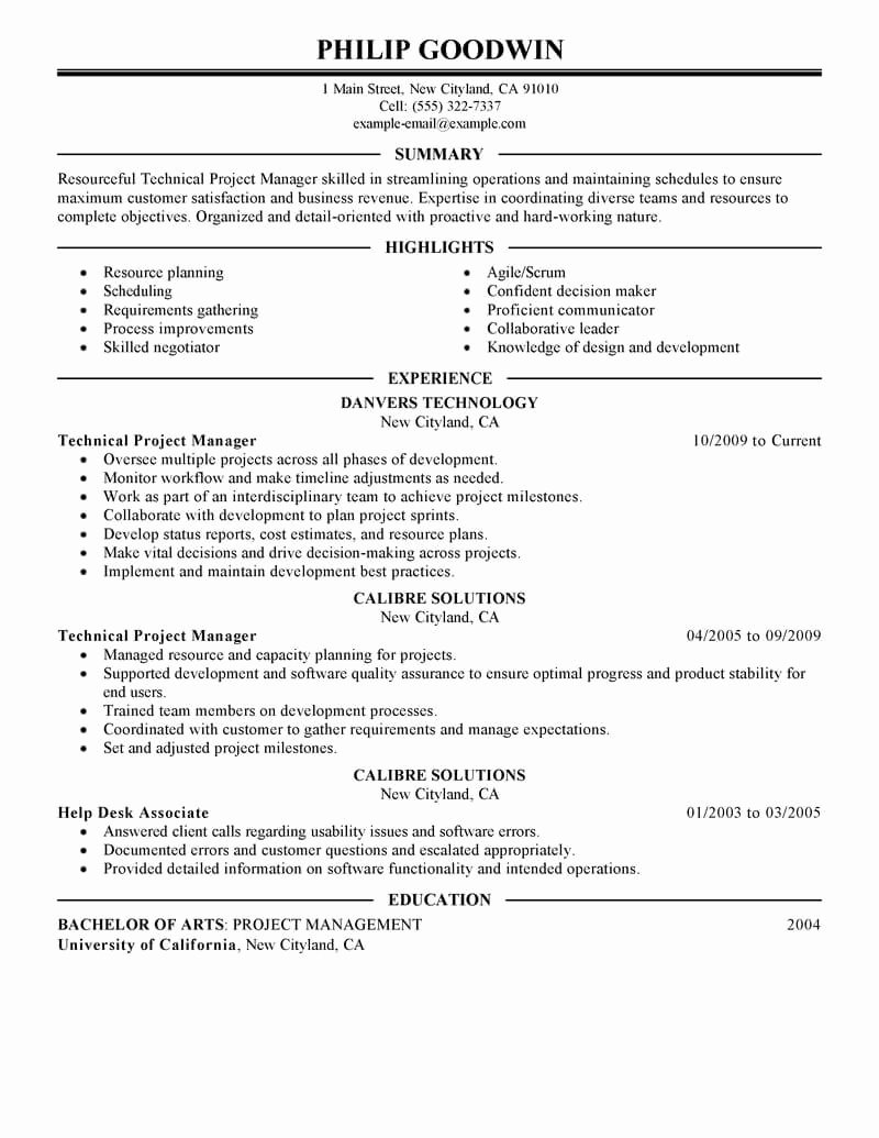 Project Manager Resume Sample Doc Inspirational Best Technical Project Manager Resume Example