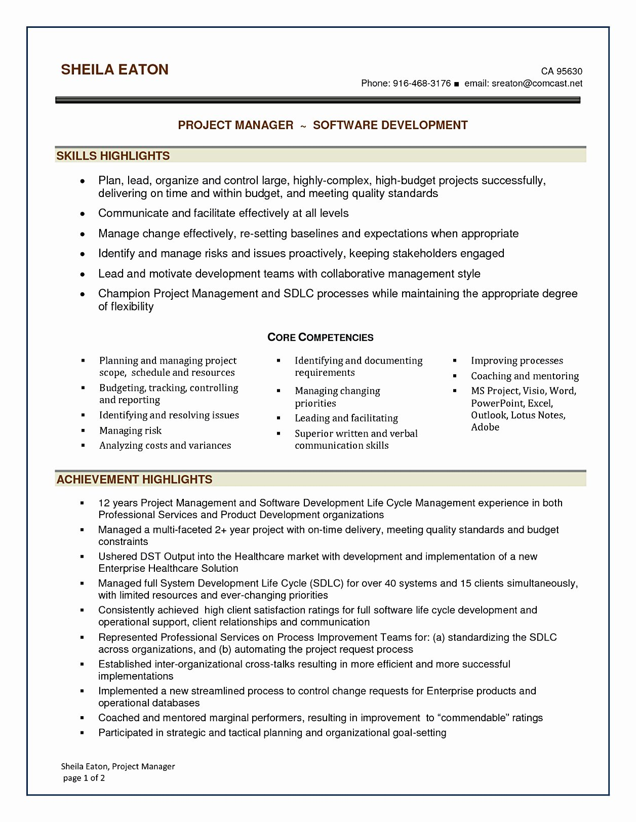 Project Manager Resume Sample Doc New software Project Manager Resume