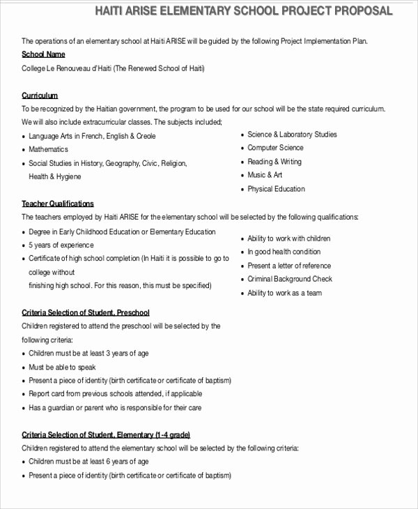 Project Proposal format for Student New School Project Proposal Template 11 Free Word Pdf format Download