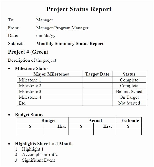 Project Report Template Word Fresh Project Status Report Template 8 Download Free Documents In Pdf Word Excel