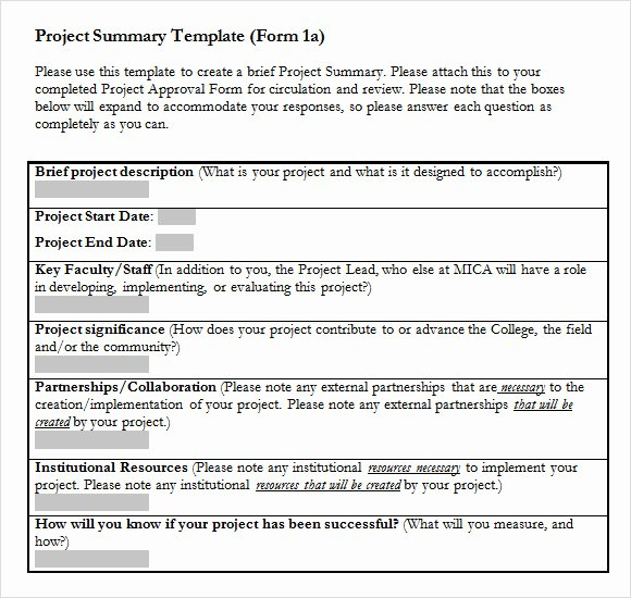 Project Report Template Word Inspirational Sample Project Summary Template 8 Free Documents In Pdf Word Excel