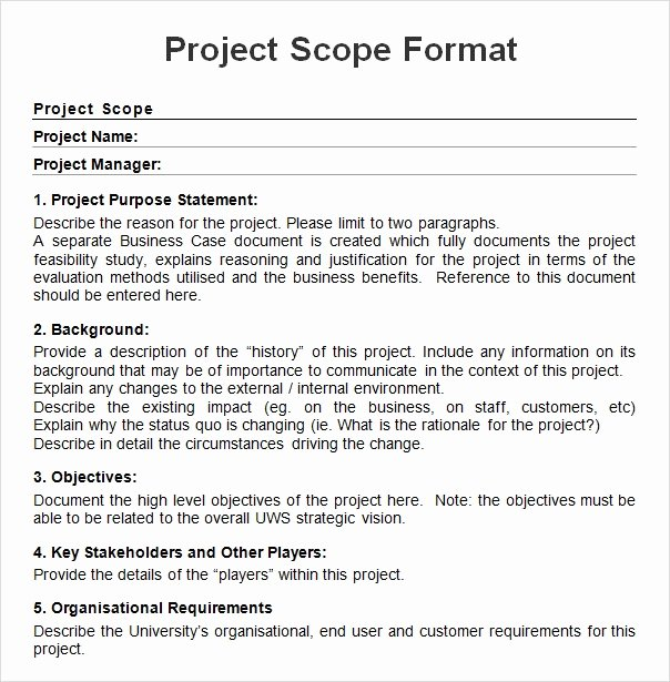 Project Scope Example Pdf Elegant Free 7 Sample Project Scope Templates In Pdf