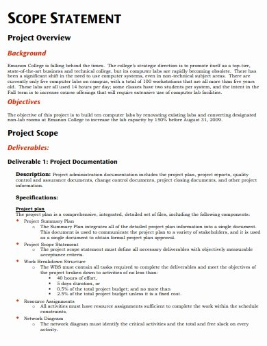 Project Scope Statement Example Pdf Fresh 10 Scope Statement Templates In Pdf Doc