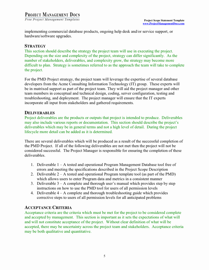 Project Scope Statement Example Pdf Fresh Project Scope Statement Template In Word and Pdf formats Page 5 Of 9