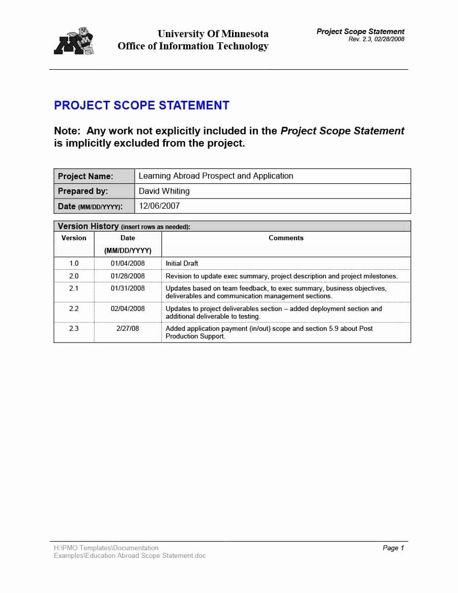Project Scope Statement Example Pdf Inspirational 43 Project Scope Statement Templates & Examples Template Lab
