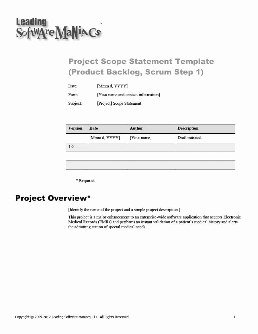 Project Scope Statement Example Pdf Lovely Project Scope Example