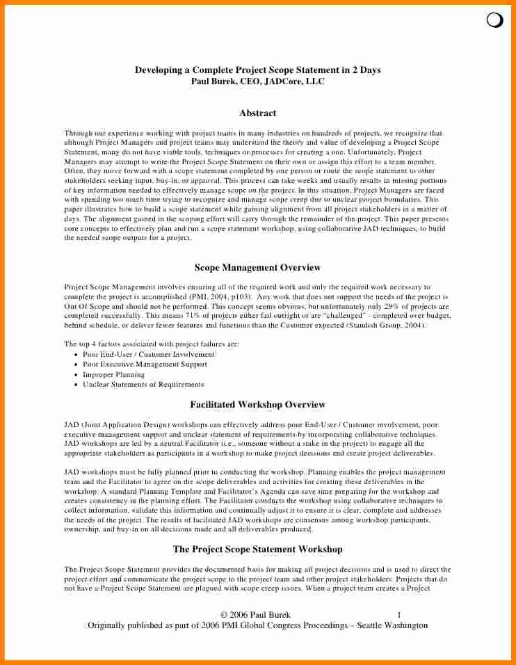Project Scope Statement Template Best Of Project Scope Management Example