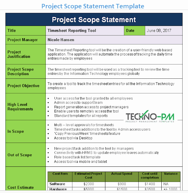 Project Scope Statement Template Elegant Project Scope Statement Template Project Management Templates