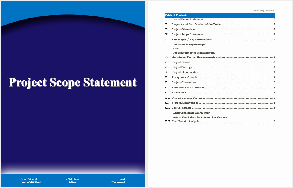 Project Scope Statement Template Elegant Project Scope Statement Template – Word Templates for Free Download