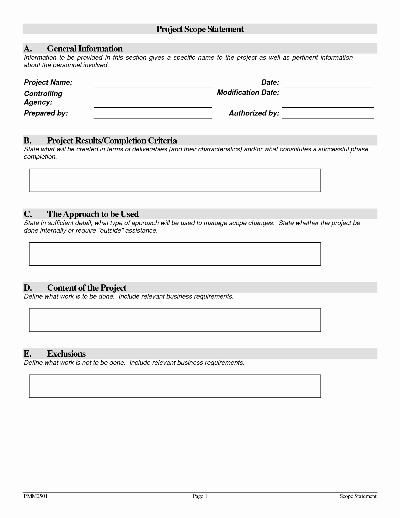 Project Scope Statement Template Fresh Project Scope Template
