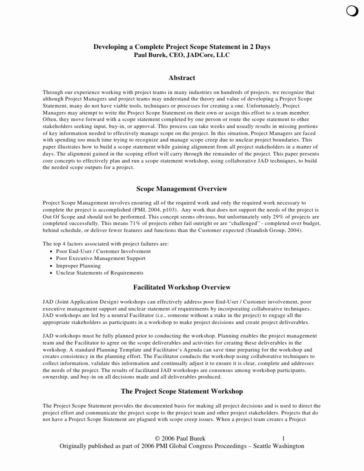 Project Scope Statement Template Luxury Developing A Plete Project Scope Statement In 2 Days