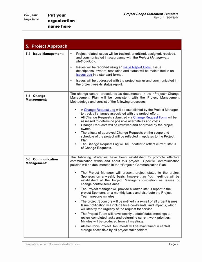 Project Scope Statement Template Luxury Project Scope Statement Template In Word and Pdf formats Page 4 Of 6
