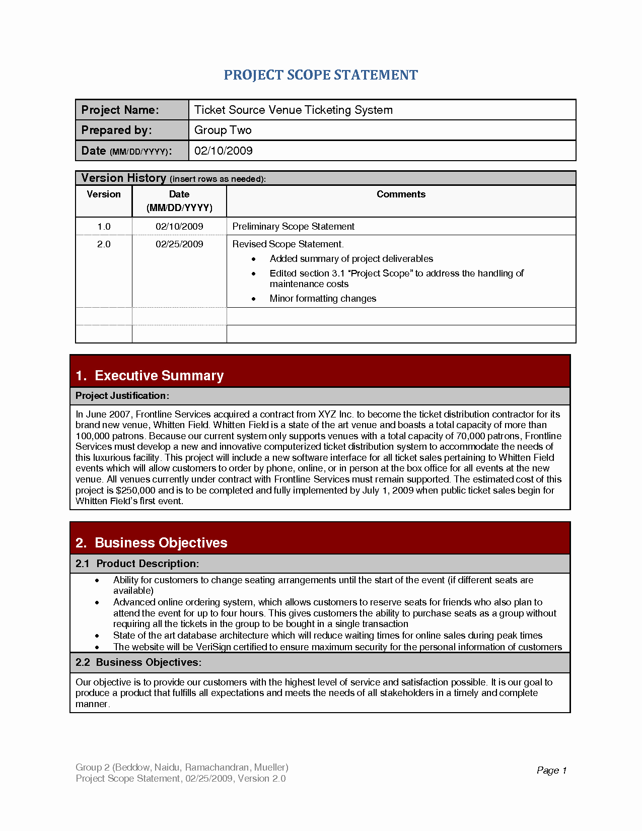 Project Scope Statement Template Luxury Project Scope Template