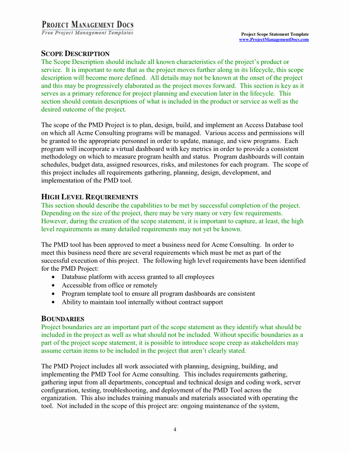 Project Scope Statement Template New Project Scope Statement Template In Word and Pdf formats Page 4 Of 9