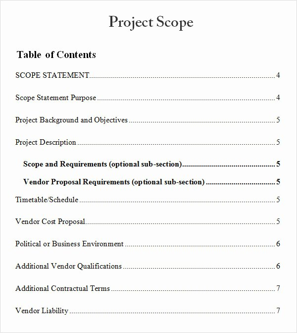 Project Scope Template Word Awesome Project Scope Document Template