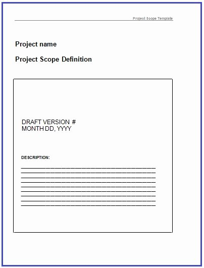 Project Scope Template Word Best Of Project Scope Templates