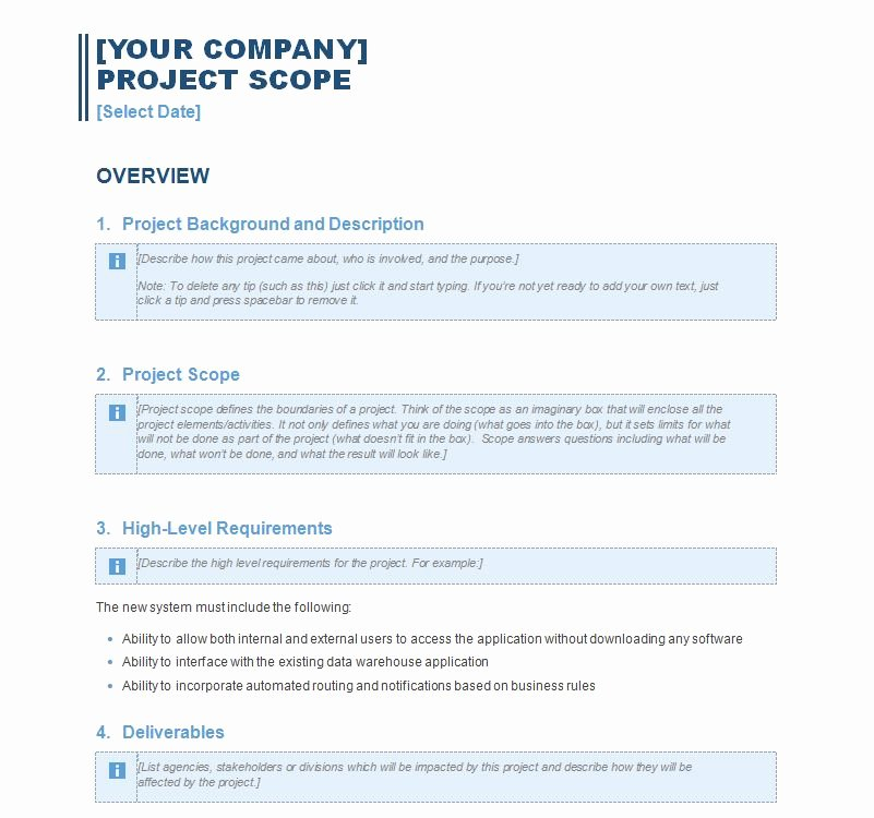 Project Scope Template Word Elegant Project Scope Statement