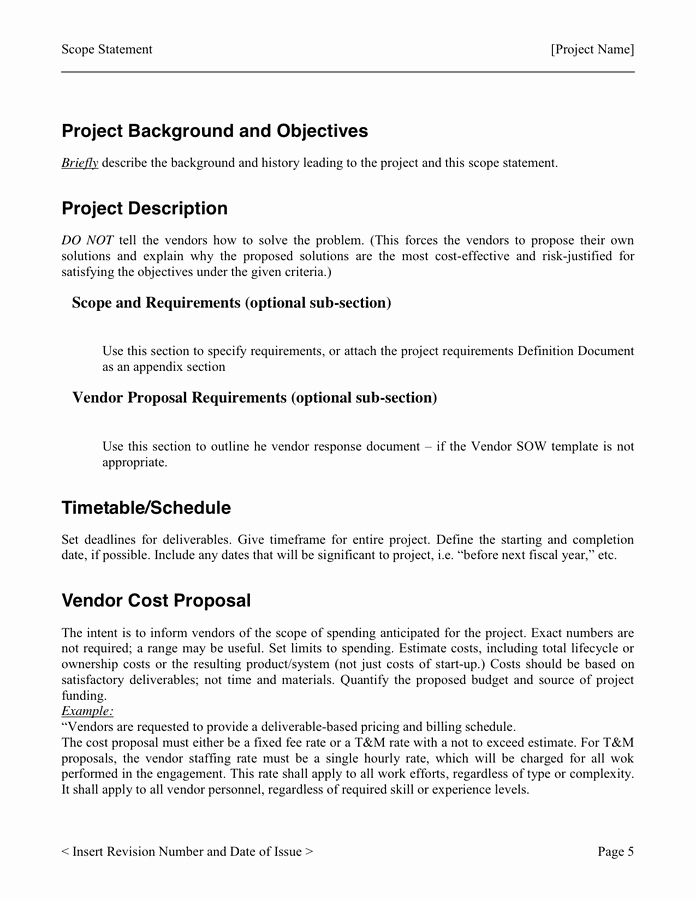 Project Scope Template Word Elegant Project Scope Template In Word and Pdf formats Page 5 Of 7