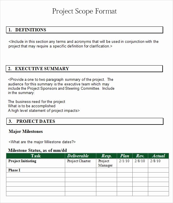 Project Scope Template Word Fresh Free 7 Sample Project Scope Templates In Pdf