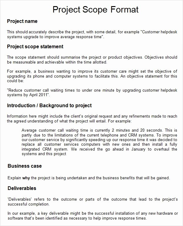 Project Scope Template Word Lovely Project 7 Free Download for Word Pdf