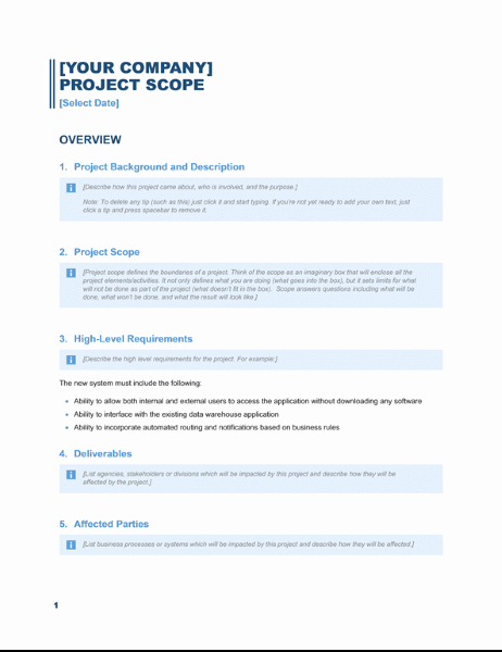 Project Scope Template Word Unique Project Scope Report Business Blue Design