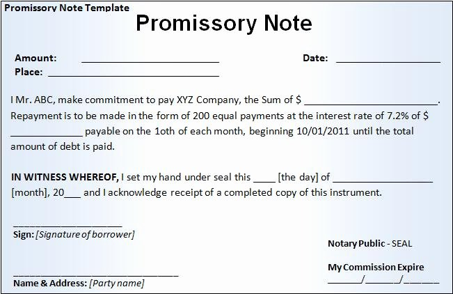 Promissory Note Template Texas Beautiful Promissory Note form