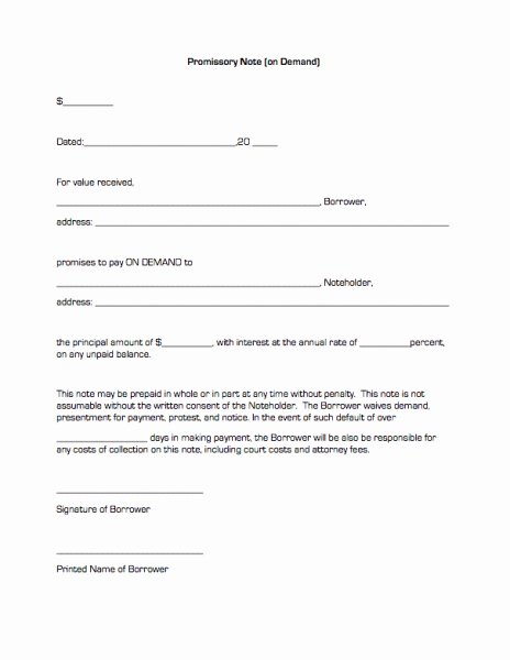 Promissory Note Template Texas Lovely Promissory Note Template Free