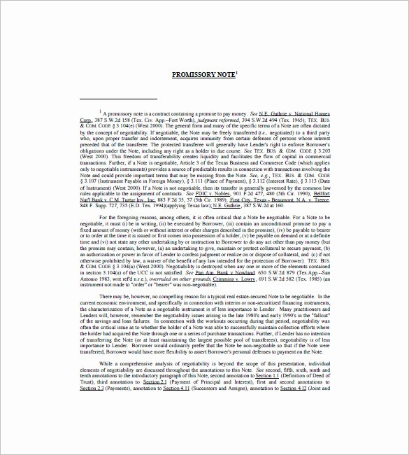 Promissory Note Template Texas Unique 7 Promissory Note Texas Free Sample Example format Download