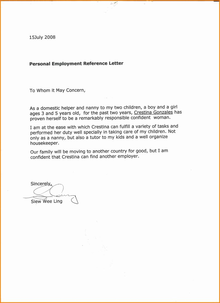 Proof Of Child Care Letter Awesome 10 Excellent Nanny Re Mendation Letter Points origins by 10 Excellent Nanny Re Mendation