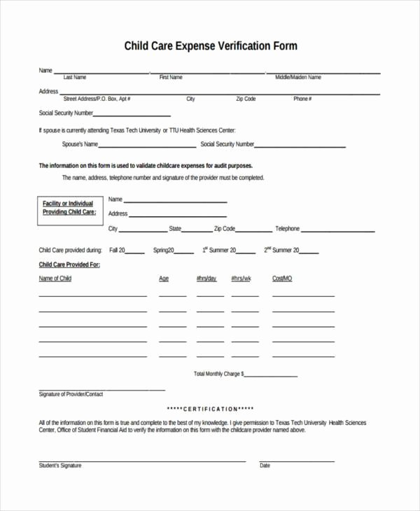 Proof Of Child Care Letter Luxury Free 8 Sample Child Care Expense forms In Pdf