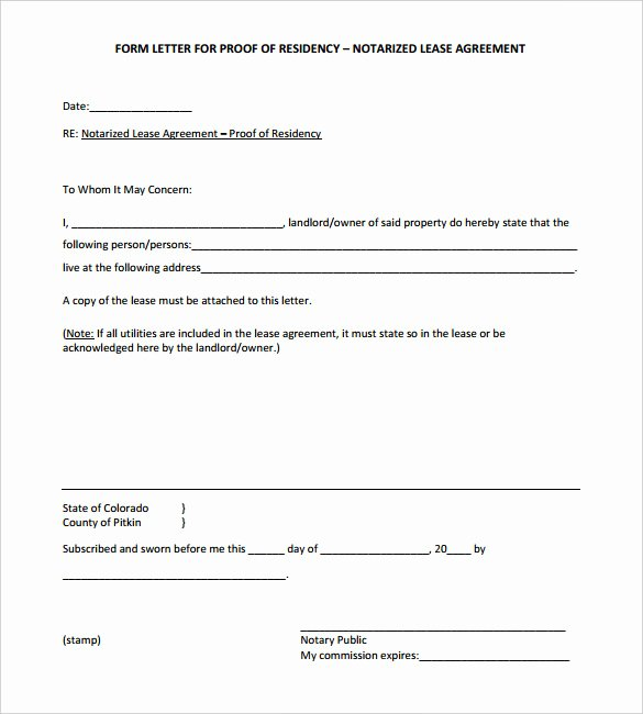 Proof Of Residency Letter Notarized Elegant 32 Notarized Letter Templates Pdf Doc