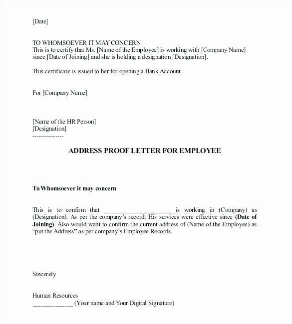 Proof Of Residency Letter Notarized Elegant Work Letter Template – Just Another Wordpress Site