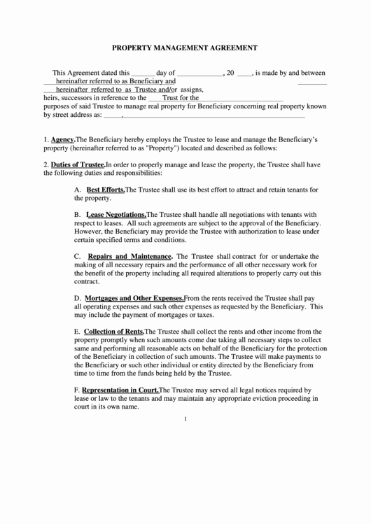 Property Management Agreement Pdf Awesome Property Management Agreement Printable Pdf