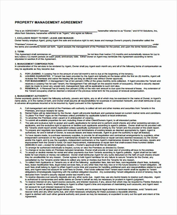 Property Management Agreement Pdf Elegant Property Agreement form 11 Free Documents In Word Pdf