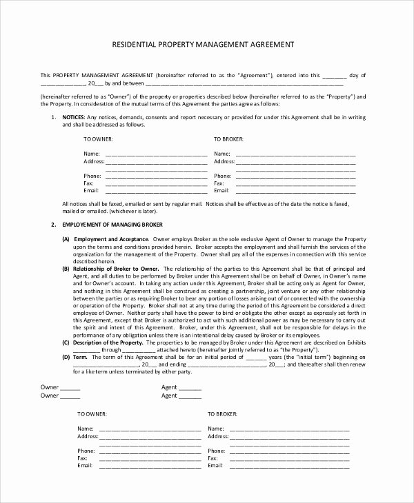 Property Management Agreement Pdf Fresh Sample Property Management Agreement 9 Documents In Pdf Word