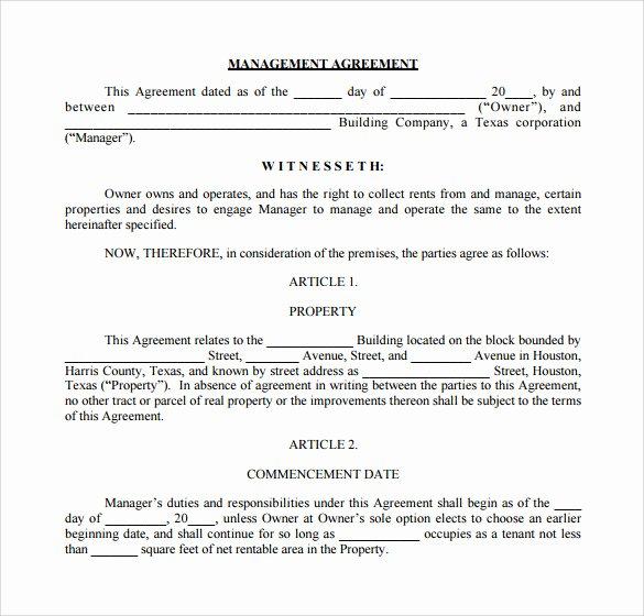 Property Management Agreement Pdf Lovely Sample Management Agreement 16 Free Documents In Pdf Word