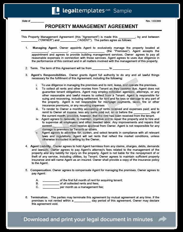 Property Management Agreement Pdf Luxury Property Management Agreement