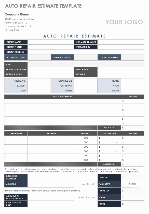 Property Repair Estimate Sheet Elegant Free Estimate Templates