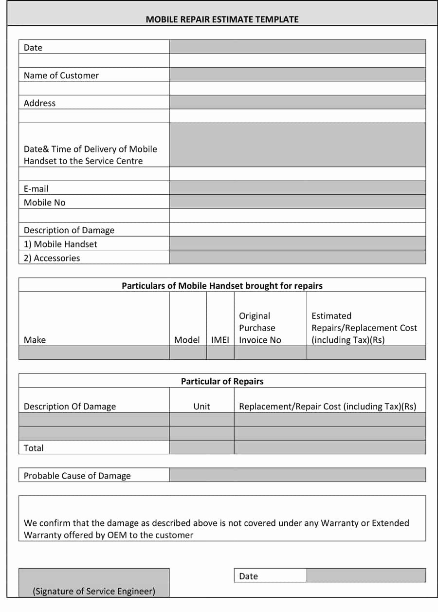 Property Repair Estimate Sheet Luxury 44 Free Estimate Template forms [construction Repair